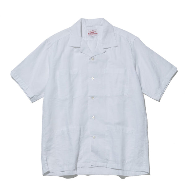 Five Pocket Island Shirt, White Cotton Linen
