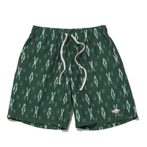 Active Lazy Shorts, Green Ikat
