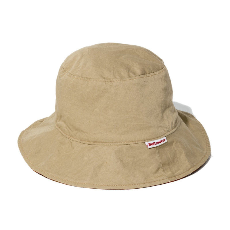 Reversible Bucket Hat, Tan / Clay Ikat