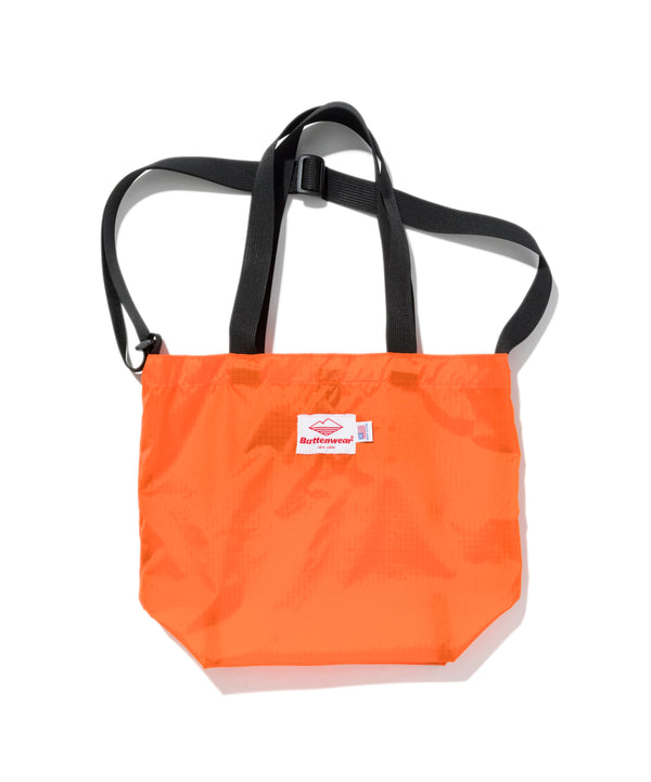 Mini Packable Tote, Orange x Black