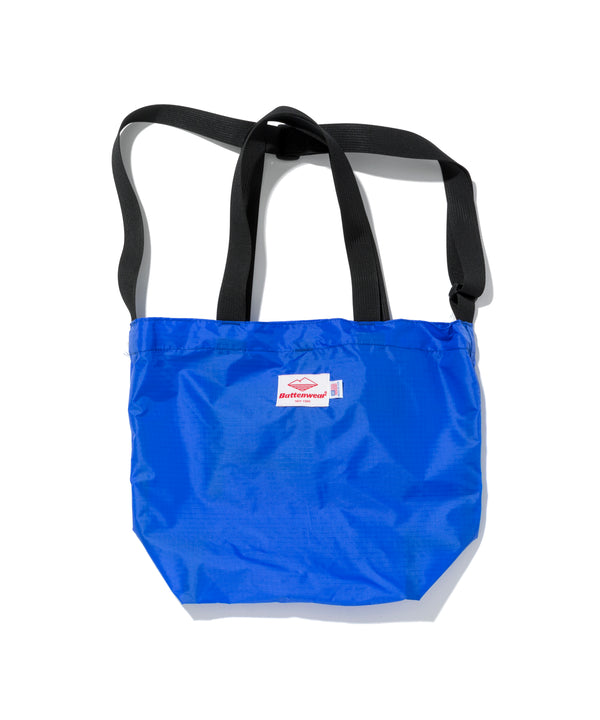 Mini Packable Tote, Royal Blue x Black