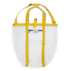 Mesh Tote, White/Yellow