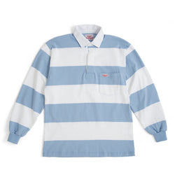 Pocket Rugby Shirt, White/Light Blue 8oz Jersey