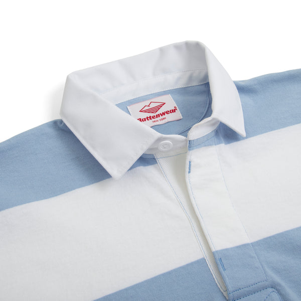 Pocket Rugby Shirt, White/Light Blue 6oz Jersey