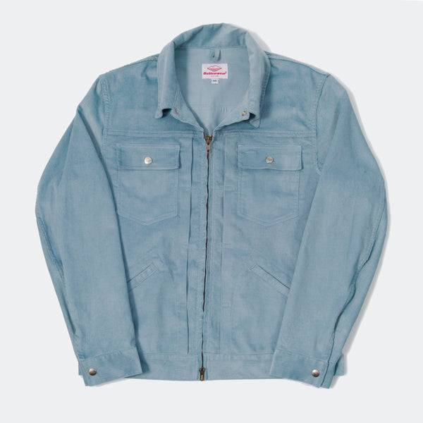 Zip Trucker Jacket, Light Blue 14-wale Corduroy