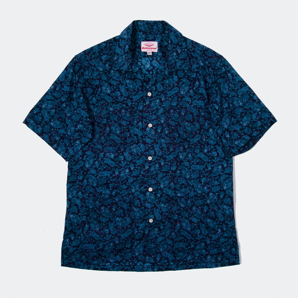 Five Pocket Island Shirt, Navy Paisley