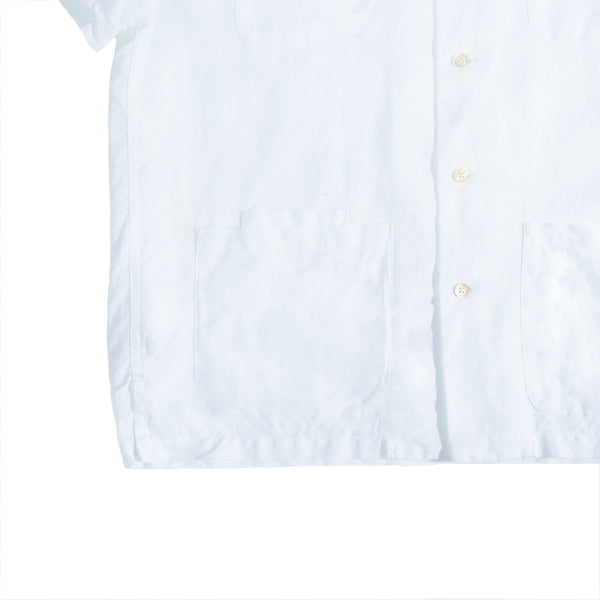 Five Pocket Island Shirt, White Cotton/Linen