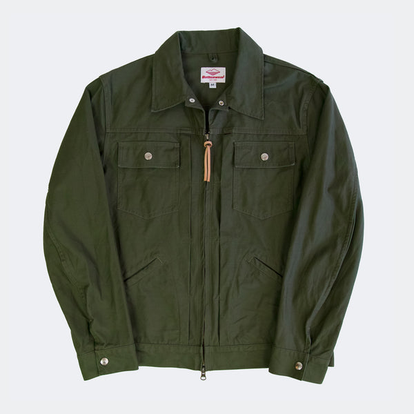 Zip Trucker Jacket, Olive Drab Back Sateen