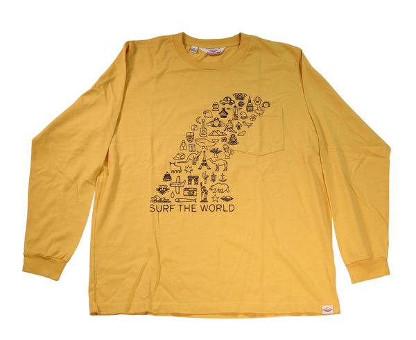 Surf the World L/S Pocket Tee, Mustard