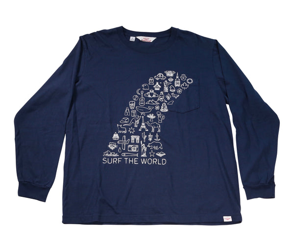 Surf the World L/S Pocket Tee, Navy