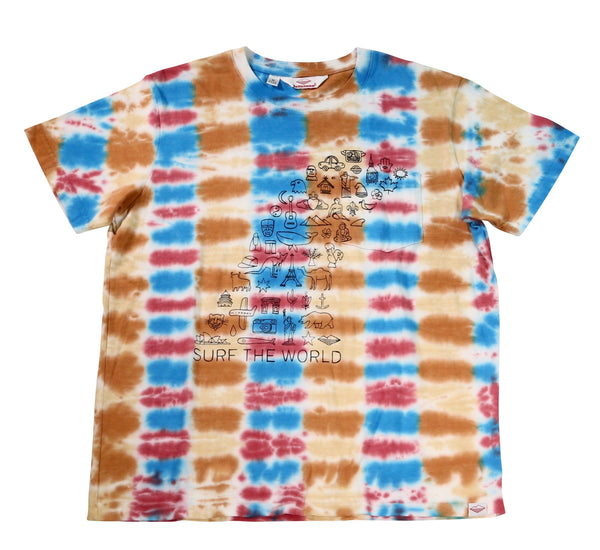 Surf the World S/S Pocket Tee, Parallel Tie Dye