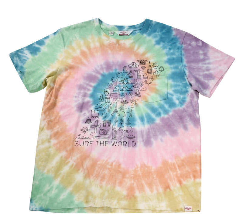 Surf the World S/S Pocket Tee, Spiral Tie Dye