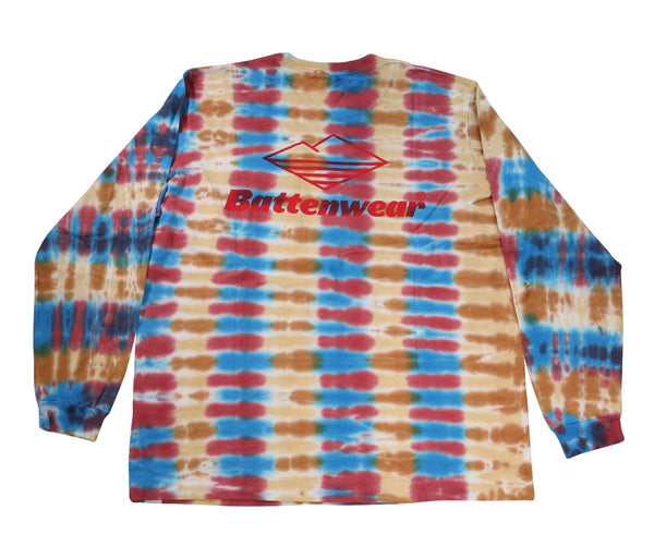 Team L/S Pocket Tee, Parallel Tie Dye