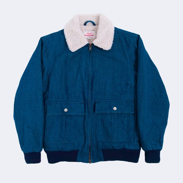 Shearling Flyer Jacket, Blue Denim