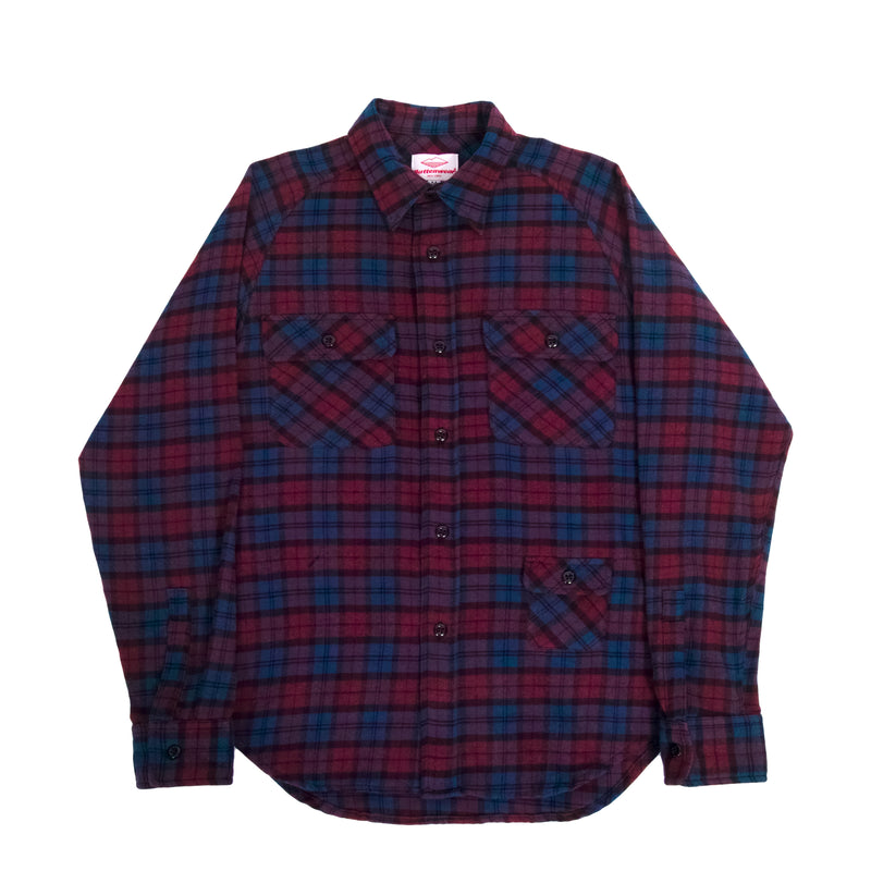 Camp Shirt, Navy x Burgundy