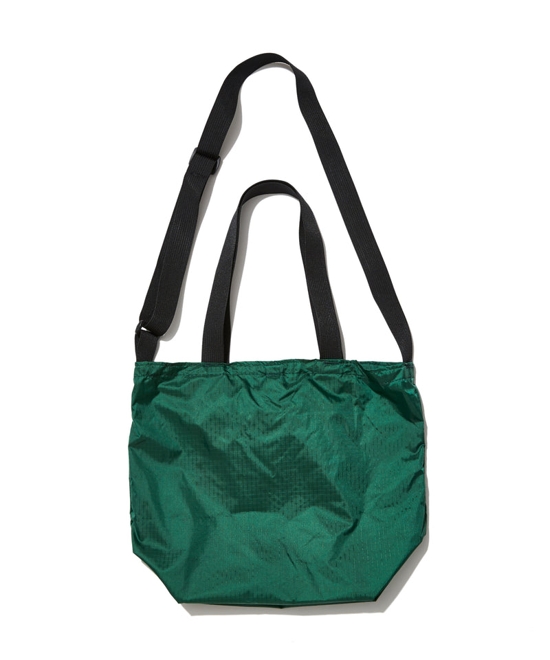 Mini Packable Tote, Forest Green x Black