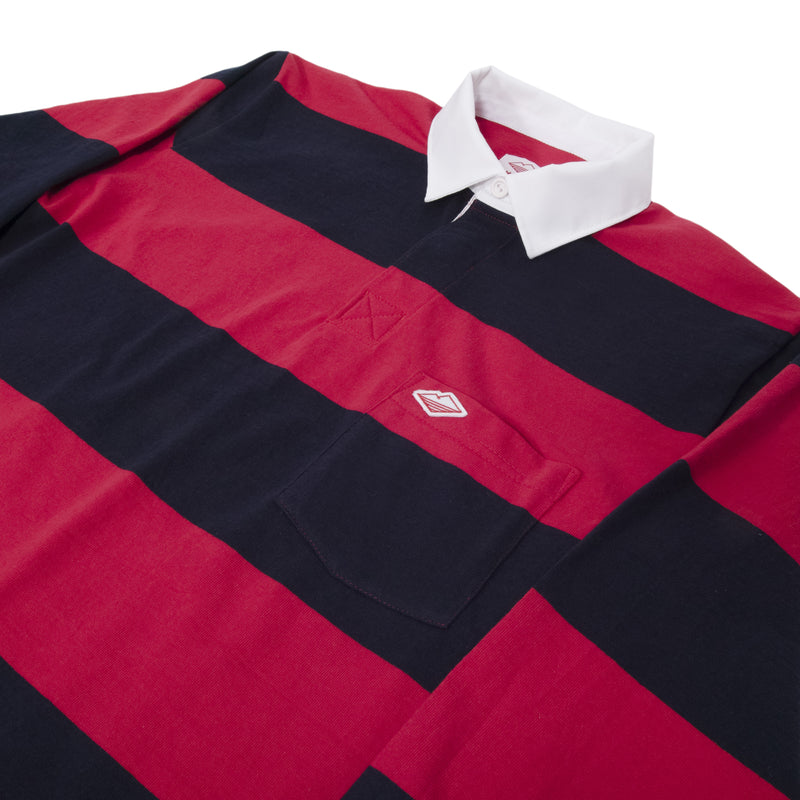 Pocket Rugby Shirt, Navy x Dark Red 12oz Jersey