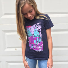 Psychedelic Horse Girlie T-shirt (Blue/Black)