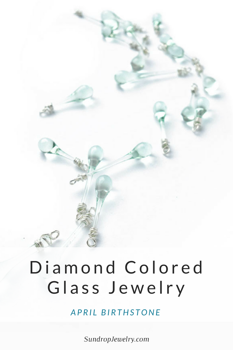 April birthstone: diamond colored glass jewelry by Sundrop Jewelry