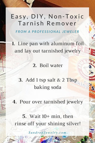 Cleaning silver - an easy, DIY, non-toxic recipe for homemade tarnish remover.