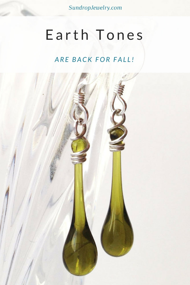 Recycled glass jewelry in earth tones for Fall, made from Martinelli's bottles