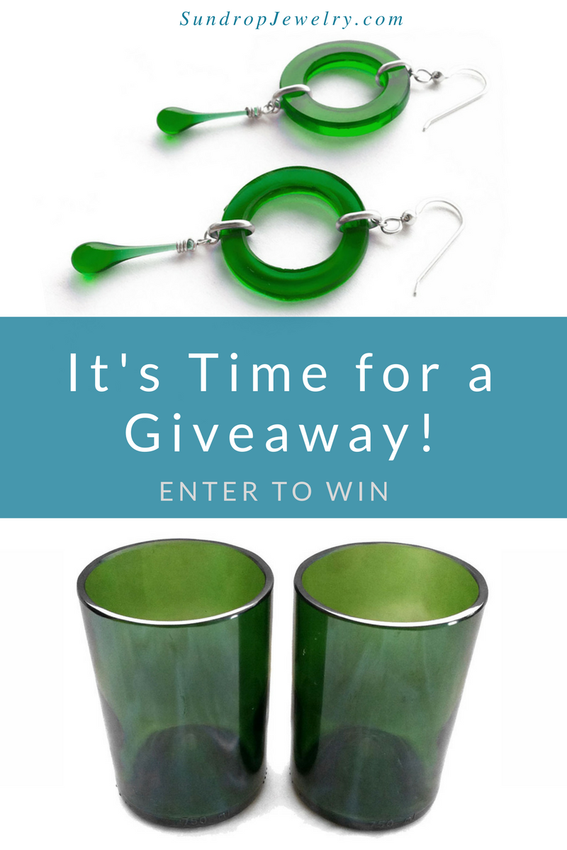 Giveaway - green recycled glass circle drop earrings and pair of glasses