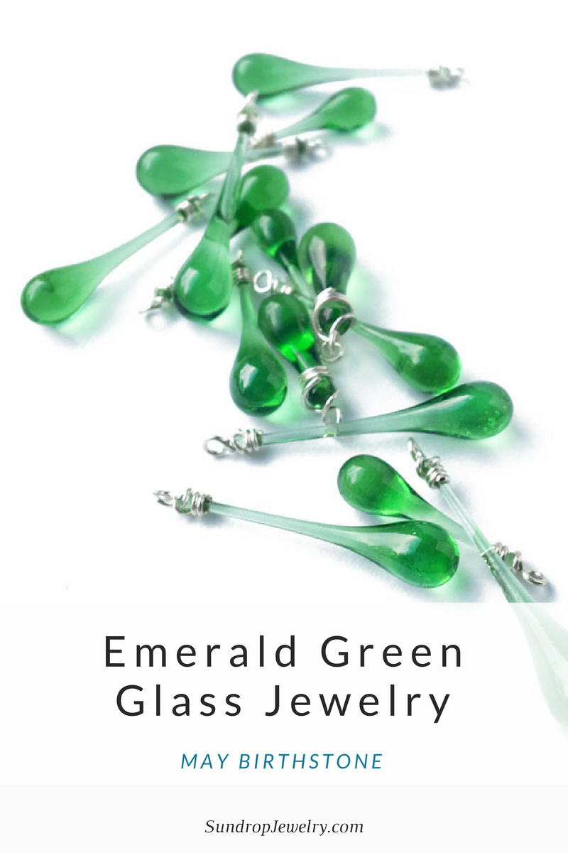 May gemstone: emerald green glass jewelry from recycled bottles
