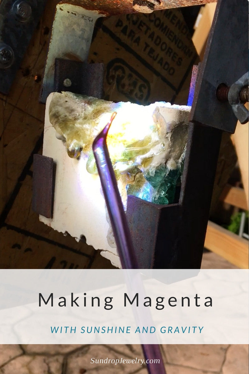 Video: making magenta glass jewelry with sunshine and gravity