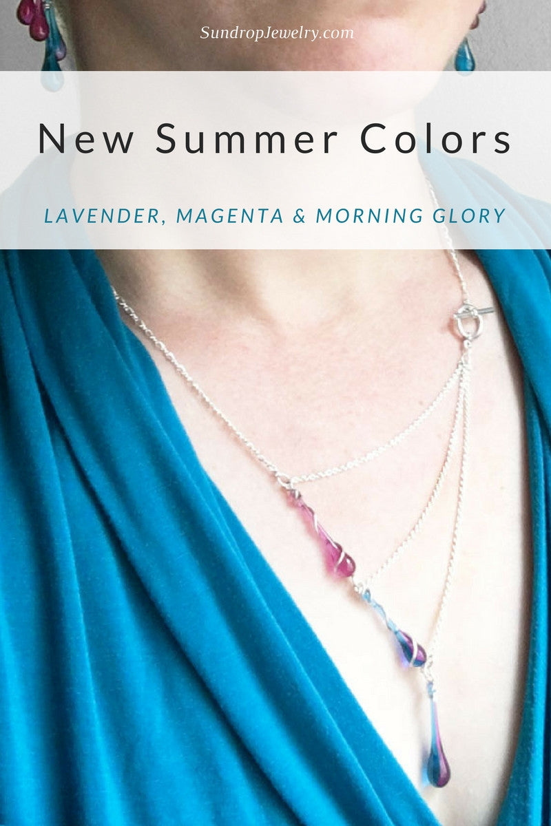 New summer colors - lavender, magenta & morning glory glass jewelry by Sundrop Jewelry