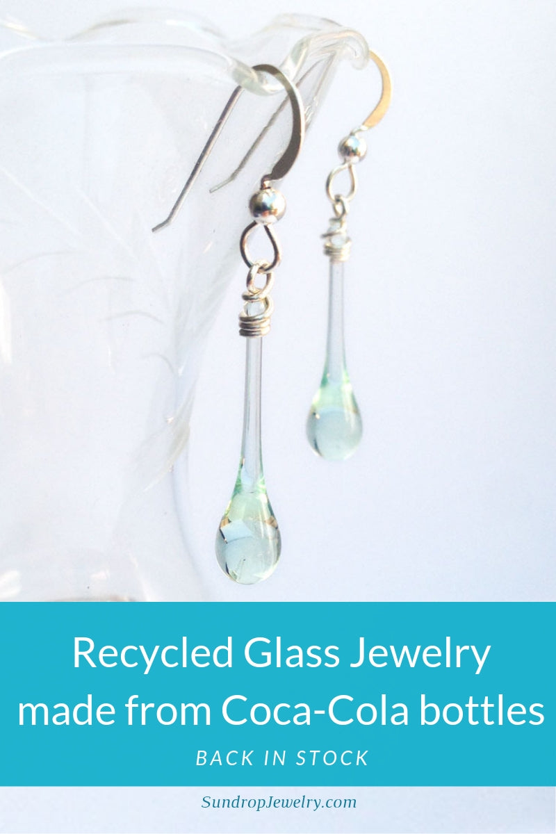 Recycled Coca-Cola glass jewelry back in stock