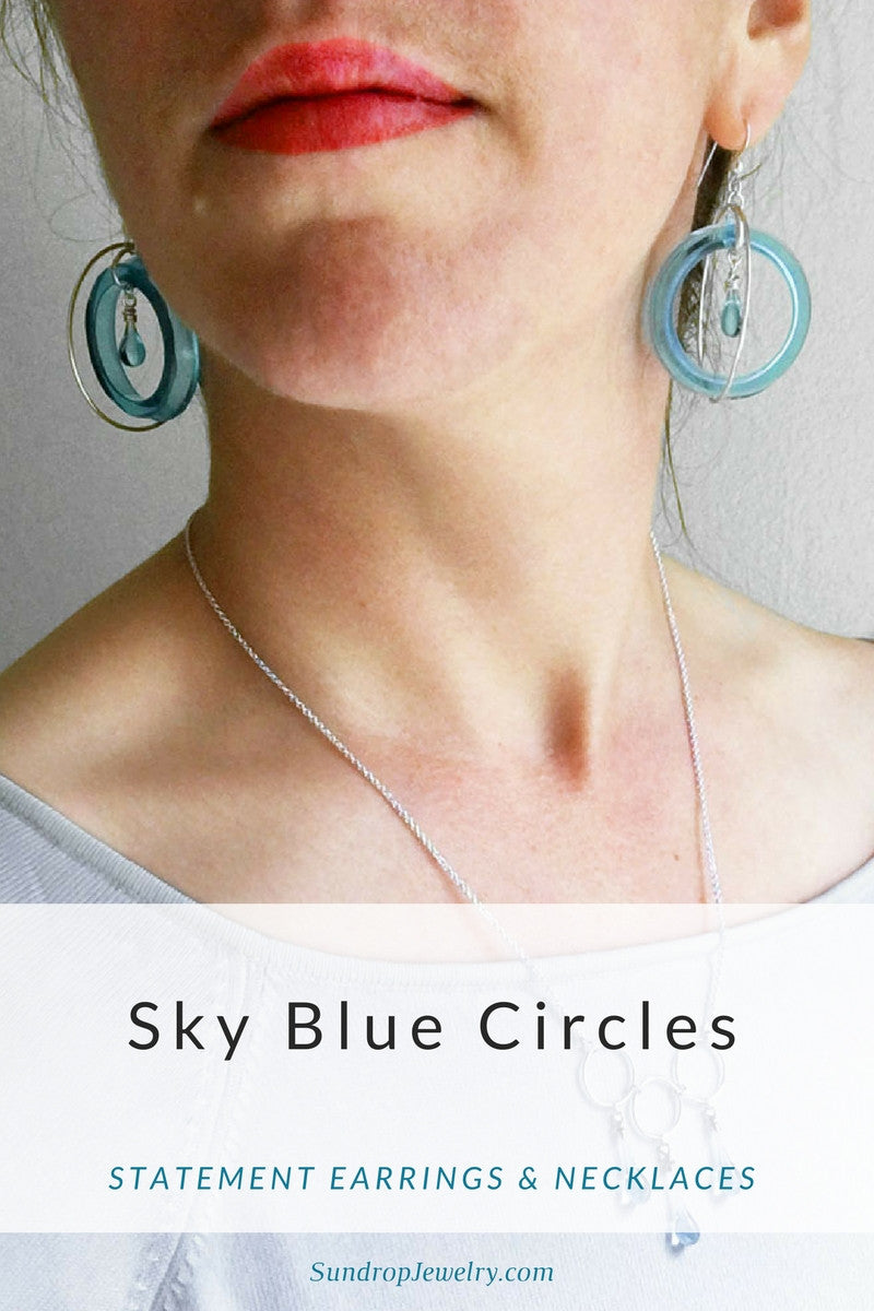 Sky blue circle drop earrings & statement necklaces || Sundrop Jewelry