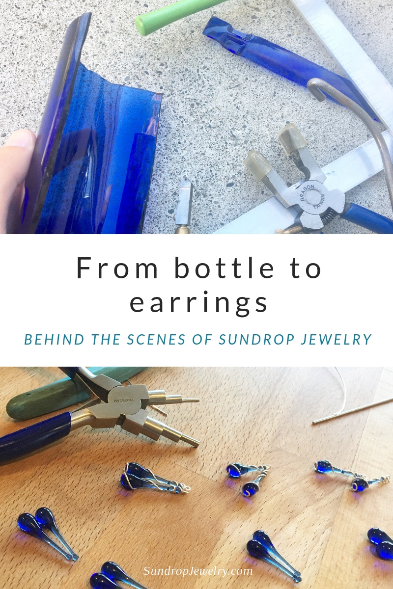 Recycled Skyy Vodka bottle to eco-friendly earrings.  Behind the scenes at Sundrop Jewelry.