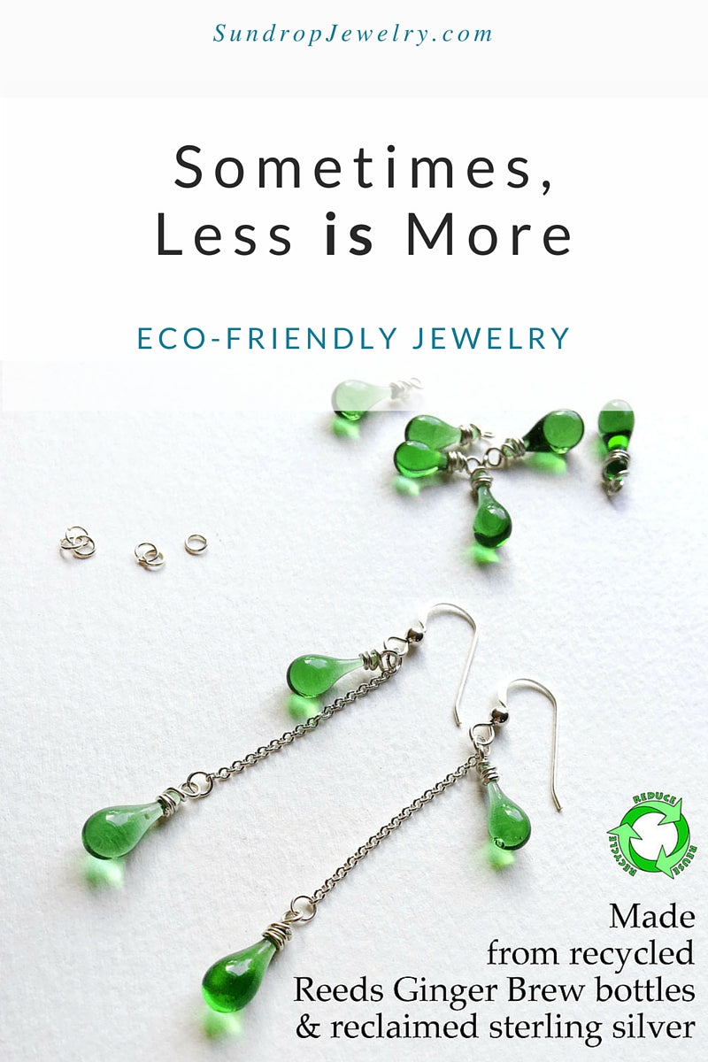 Eco Friendly Jewelry made from recycled bottles and recycled silver - Sometimes Less is More_by Sundrop Jewelry
