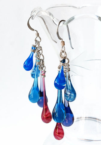Cascade Ear Rings in custom color combination: vibrant blues, pinks and purples