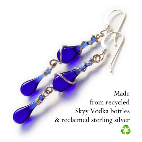 Cobalt Gemini Earrings, made from sun-melted Skyy Vodka bottles and recycled silver