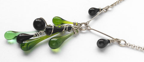 Custom Jewelry Design: green and black cluster necklace