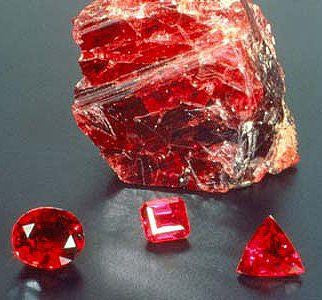 July birthstone: ruby crystal and gemstones