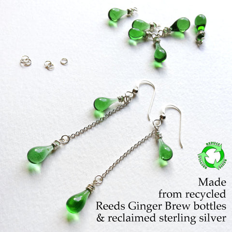 Eriantha Earrings, eco friendly jewelry made by Tawny Reynolds from recycled glass bottles and recycled sterling silver