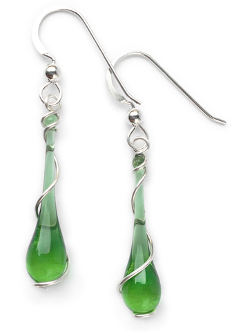 Lyra silver spiral earrings in kelly green, 100% recycled!  Made with sun-melted glass bottles and recycled silver.