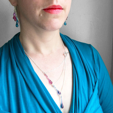 Introducing new summer colors of glass jewelry - magenta, lavender, and morning glory