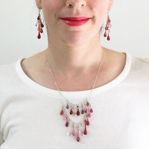 Add color to a plain white shirt - pink valentines statement jewelry