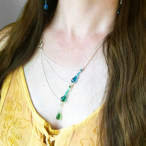 Best-selling ombre blue-green statement necklace for Christmas