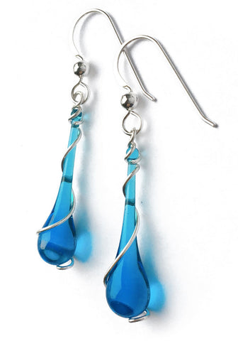 Turquoise blue glass earrings to match your favorite beach getaway!