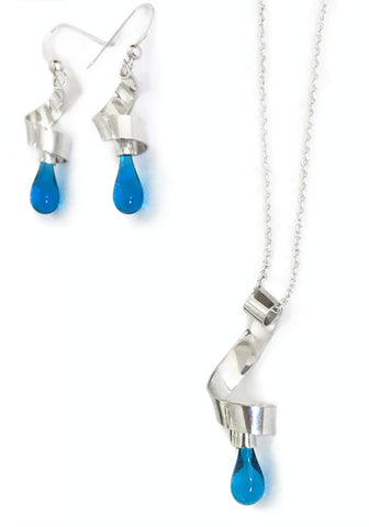 Tendrils of silver and glass teardrop earrings and pendant