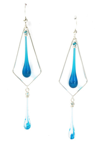 Turquoise and Aqua Tornado Double Kite Ear Rings - custom designed artisan jewelry