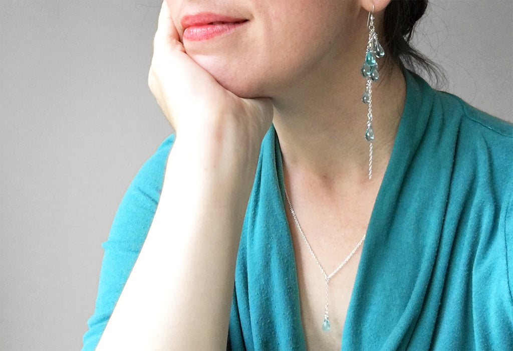 Water Lanata Earrings and Water Solandra Y-Necklace by Sundrop Jewelry