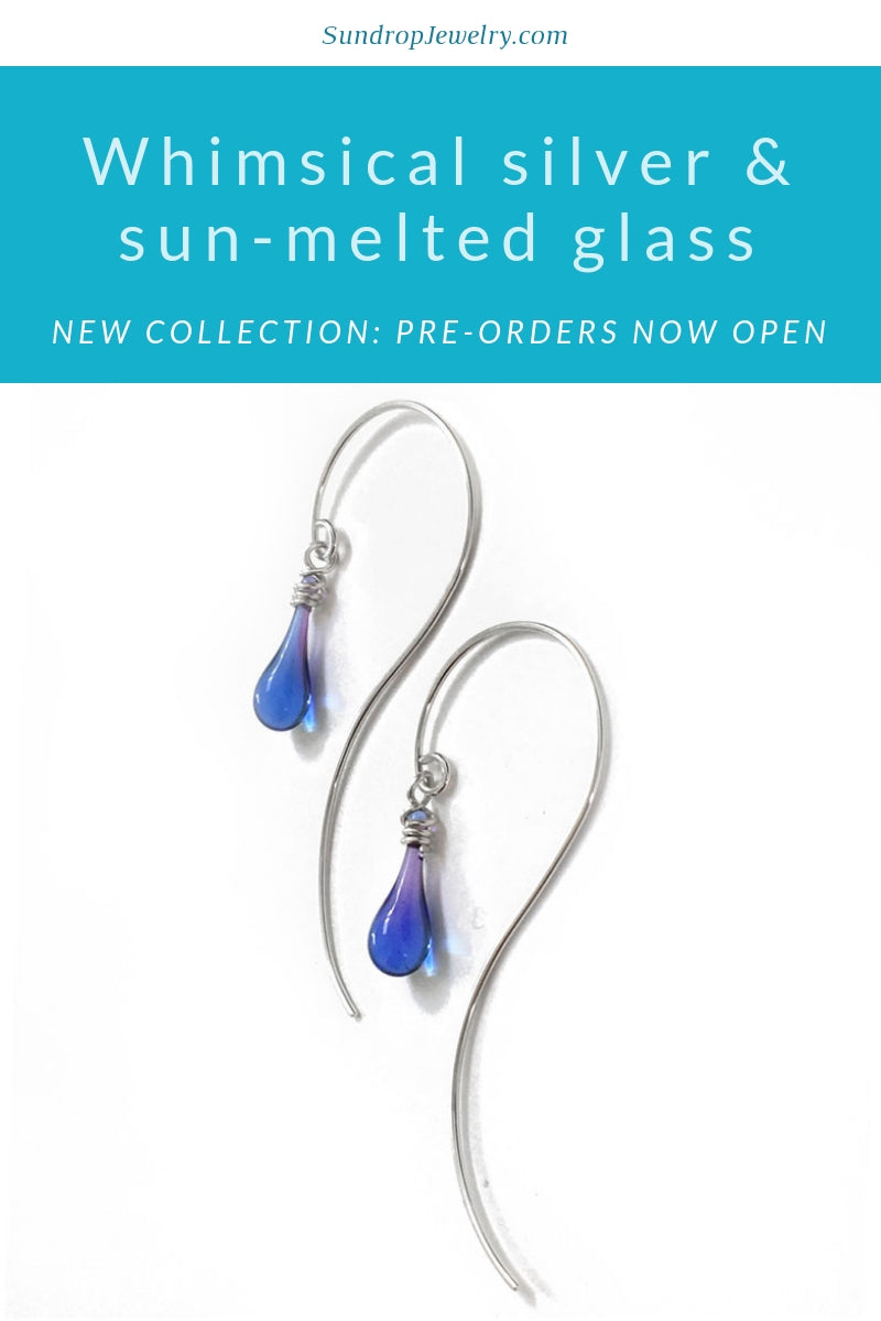 New collection of whimsical sterling silver and sun-melted glass jewelry from Sundrop Jewelry