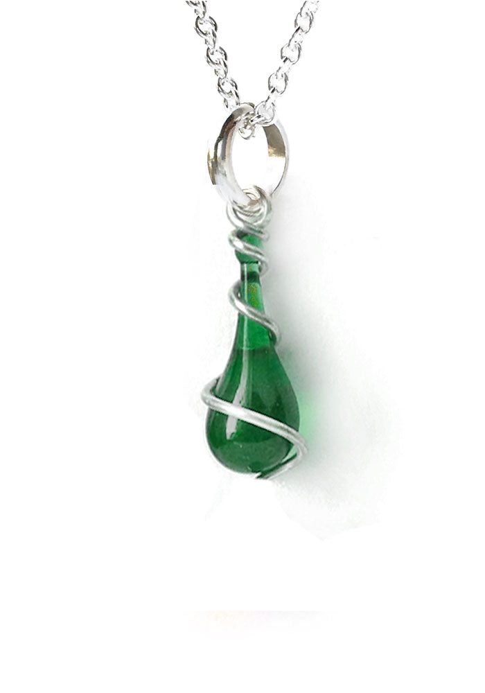 Emerald Spiral Demi Pendant - glass Necklace by Sundrop Jewelry