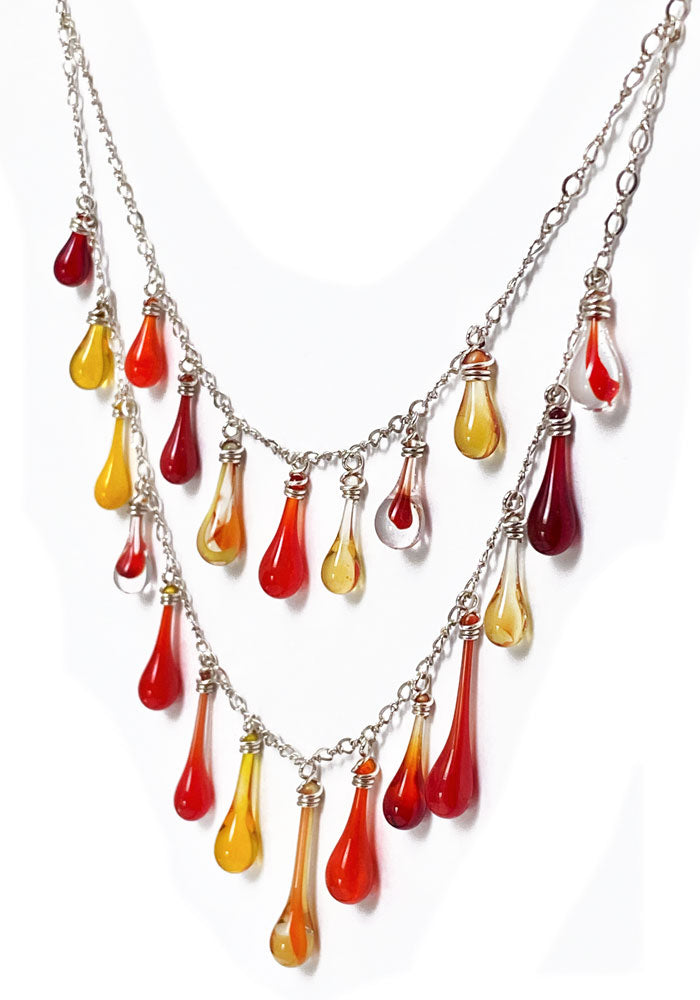 Firelight Waterfall Necklace
