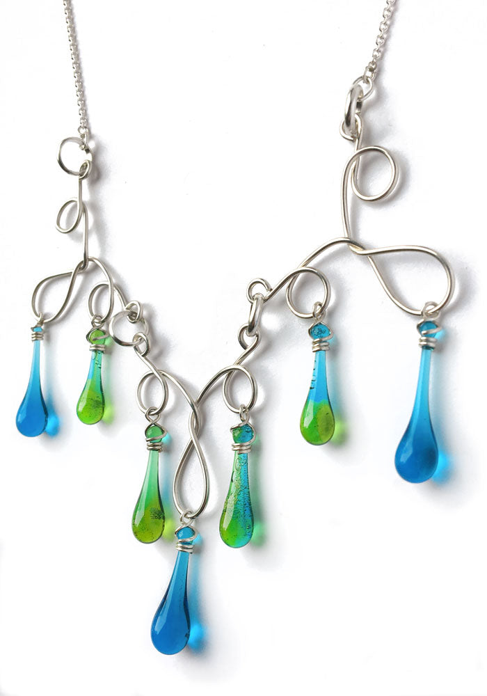 Turquoise and Green Silver Swirl Statement Necklace - glass Jewelry by Sundrop Jewelry